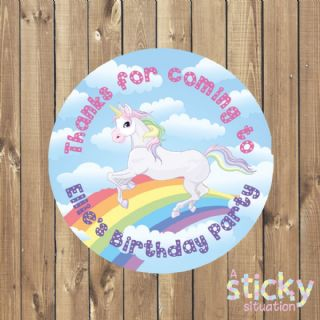Personalised Birthday Party Stickers - Unicorn Rainbow Design